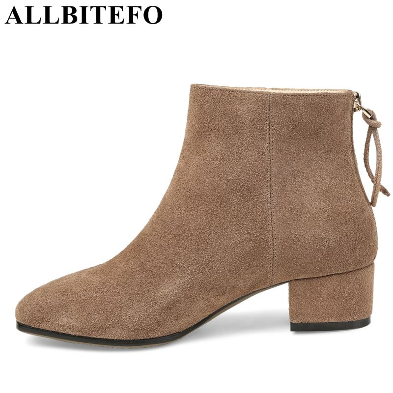 ALLBITEFO brand genuine leather thick heel women boots winter high heels ankle boots women high-heeled winter motorcycle boots 2016women s genuine leather boots high heeled winter boots designer wool lining motorcycle boots thick snowshoe free shipping