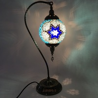 16cm Ball Turkish mosaic table Lamp vintage art deco Handcrafted lamparas de mesa Glass romantic bed light lamparas con mosaicos