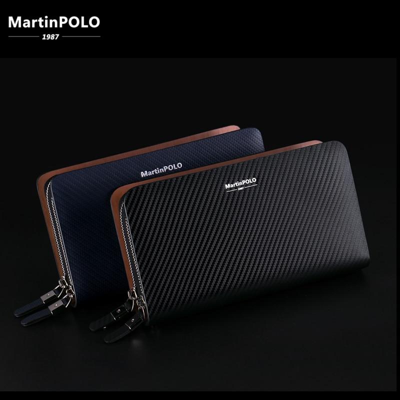 MartinPOLO Mens Business Clutch Long Wallet Phone Pocket Leather Luxury Brand Fashion Handbag Photo Holder MP2001