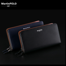 MartinPOLO Mens Business Clutch Long Wallet Phone Pocket Leather Luxury Brand Fashion Handbag Photo Holder MP2001