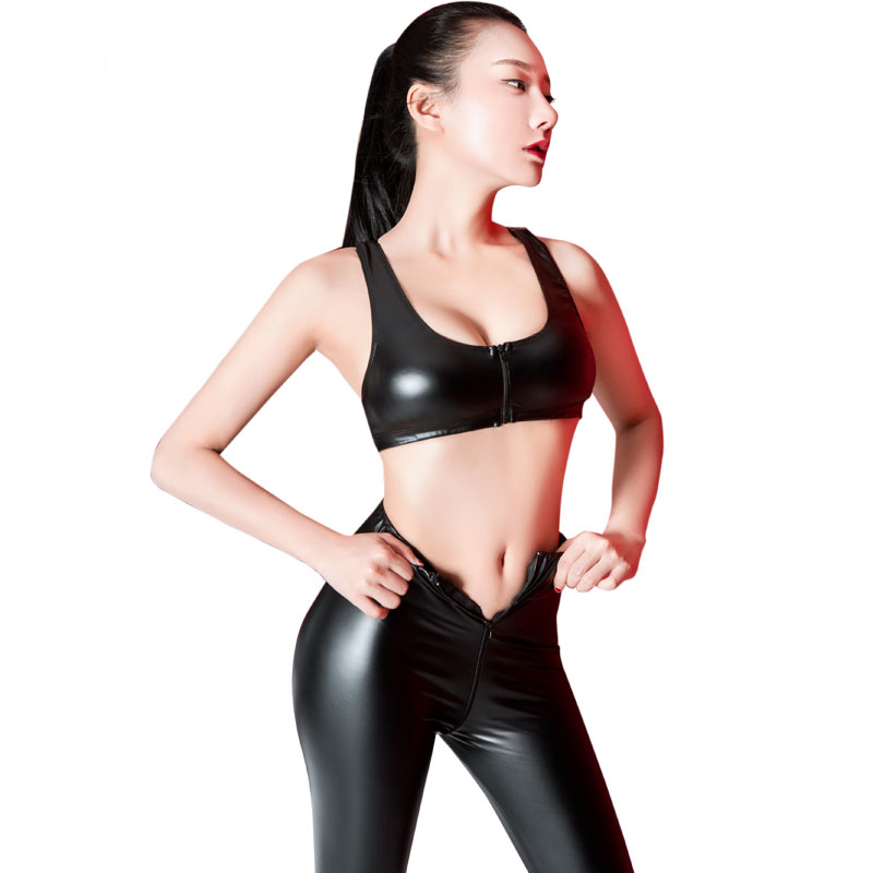 Sexy Zipper Open Crotch Pencil   Pants   PU Shiny Sexy Leggings High Waist Hollow Pencil Hot   Pants     Capris   With Vest 2PCS/Set F34
