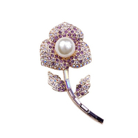 famous brand women jewelry elements plant flowers Brooch corsage Faux Pearl purple Natural Austria Crystal female love