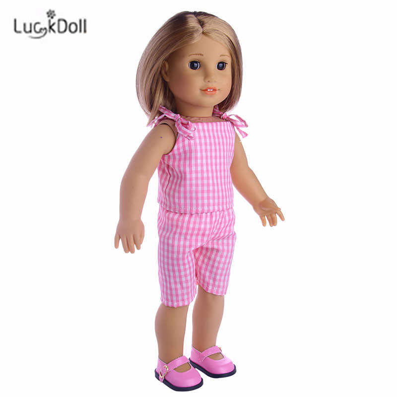 LUCKDOLL Fashion Summer Pink Dress Fit 18 Inch American 43cm Baby Doll Clothes Accessories,Girls Toys,Generation,Birthday Gift