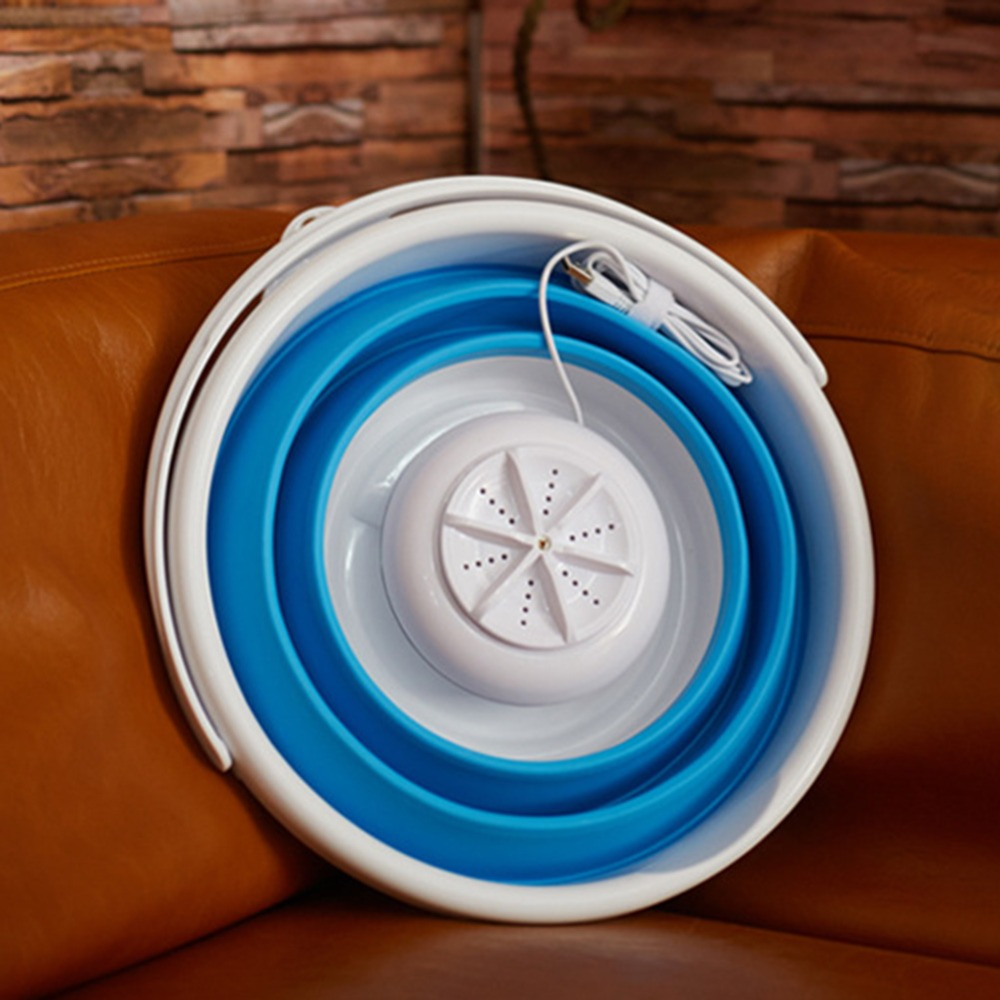 Portable Mini Washing Machine Ultrasonic Turbine Washing Machine Foldable Bucket Shape Laundry Clothes Washer for Home Travel (1)