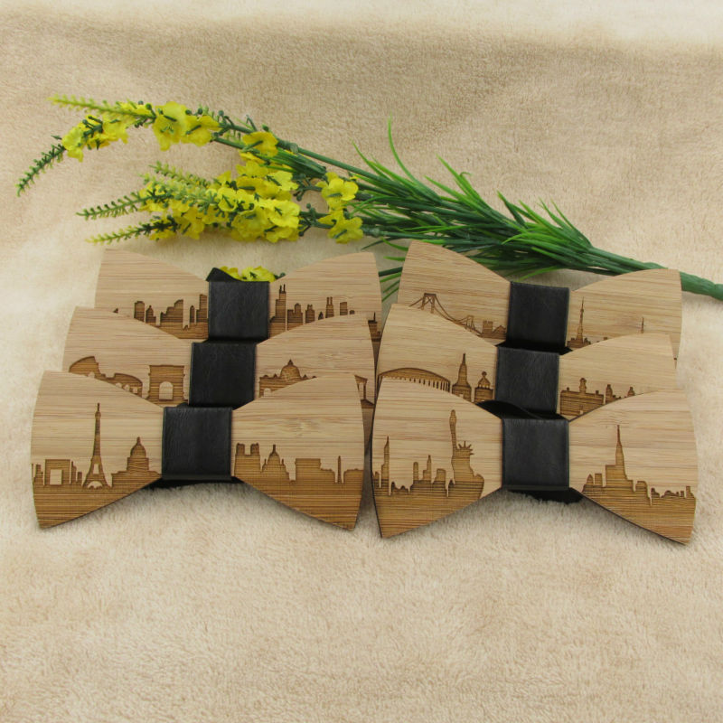 Wedding Bow Tie Wooden Butterfly For Men's Shirt Necktie