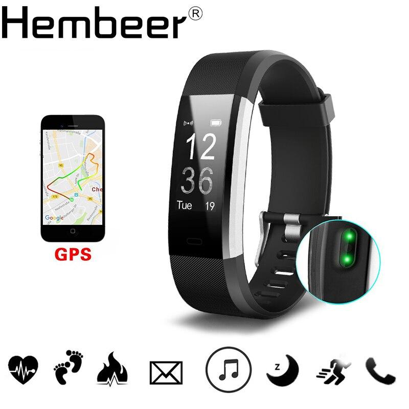 Hembeer H115HR PIÙ GPS Braccialetto Intelligente Monitor di Frequenza Cardiaca Fitness Tracker Passo Contatore Attività Sveglia Banda pk fitbits