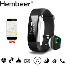 Hembeer H115HR PLUS GPS Smart Bracelet Heart Rate Monitor Fitness Tracker Step Counter Activity Band Alarm Clock pk fitbits