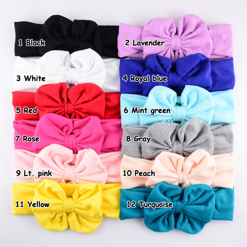 12 Colors 36pcs/lot Sweet Bows Headbands Mabe Of Pure Cotton Very Soft For New girls Top Quality Headwear For Kids FDA06
