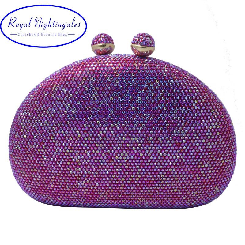 Royal Nightingales 2019 Women AB Red Crystal Clutches and Evening Bags Crossbody Handbag Wristlets Hard Box