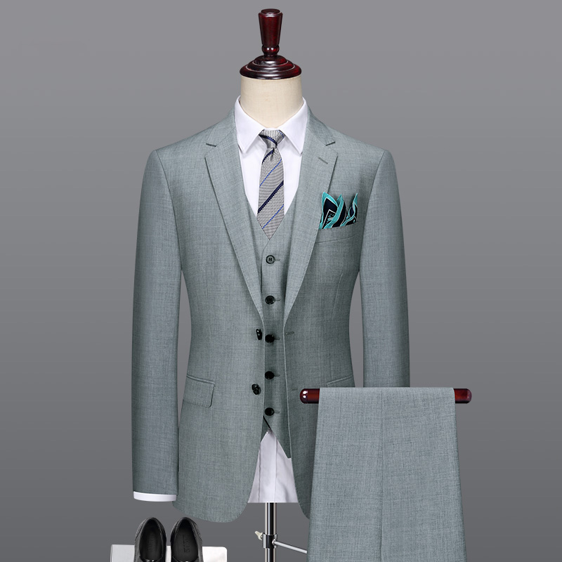 50% Wool Men Suit Light Grey Mens Suits With Pants For Wedding Groom Slim Fit Father Day Gift 2019spring Autumn Businessman Wear