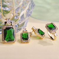 Perfect Supper Anniversary Emerald Jewelry set Collar Women Wedding Necklace Earring Anel Jewellery set Brand African Jewelry