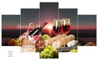 5 Peça Da Arte Da Lona de Frutas & Vinho Tinto Quadros Na Parede para a Alimentação de Cozinha Citação Impressão Pintura A Óleo Sala de Jantar Decor No Frame