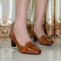 Italy quality women's genuine leather shoes women square toe high heels pumps dress shoes for women office shoes big size 319-33
