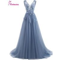 Blue Evening Gowns Dress 2016 Plus Size Tulle Appliques Long Formal Dresses V Neck Lace Up