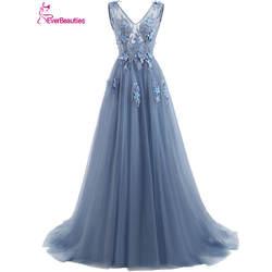 Elie Saab Синий Вечерние платья 2019 плюс размеры Тюль длинное кружевное платье V образным вырезом кружево до рукавов robe De Soiree