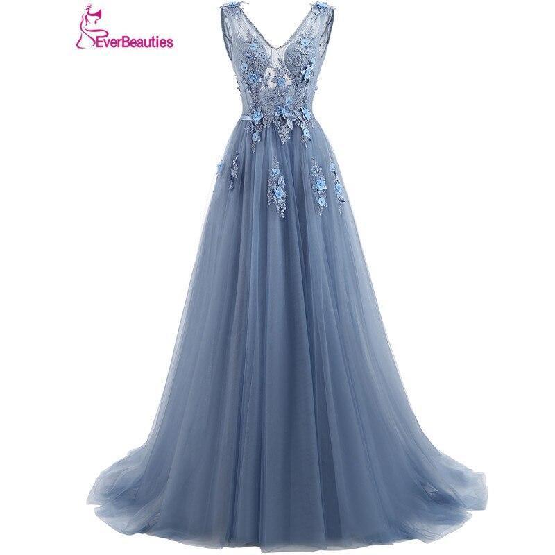 Elie Saab bleu robes De soirée 2019 grande taille Tulle Appliques longues robes formelles robes col en V à lacets sans manches Robe De soirée