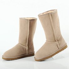 2016 Australia Warm Winter Unisex Snow Boots Mid-Calf boots Size plus size Fashion High Quality Women Genuine Suede Leather boot