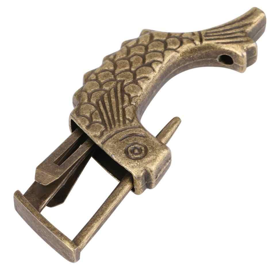 WALFRONT ancien cadenas chinois Antique poisson en forme de Bronze métal laiton cadenas pour tiroir boîte à bijoux décor à la maison ornements
