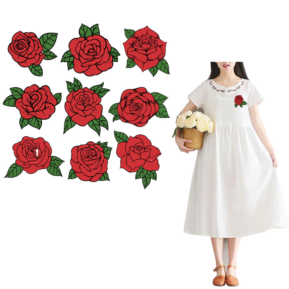 rose thermal transfer for jeans skirt diy sticker russian iron patches flowers vetement print press decoration diy picture 21cm in Patches from Home Garden