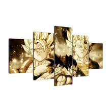 Modern Home Wall Art Decor Frame Pictures HD Print 5 Panel Cartoon Characters Dragon Ball Painting On Canvas For Room
