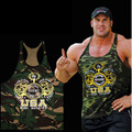 2016 Nuevo Gimnasio Equipo Maillots ropa de Camuflaje sin Mangas Camiseta Culturismo Golds Gym Fitness hombres Stringer WAIBO OSO