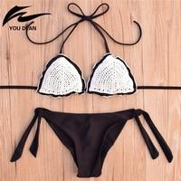 Brazilian Bikini Women Sexy Halte Bikini Set Padded Low Wait Solid Panties Bandage Summer Hot Sale