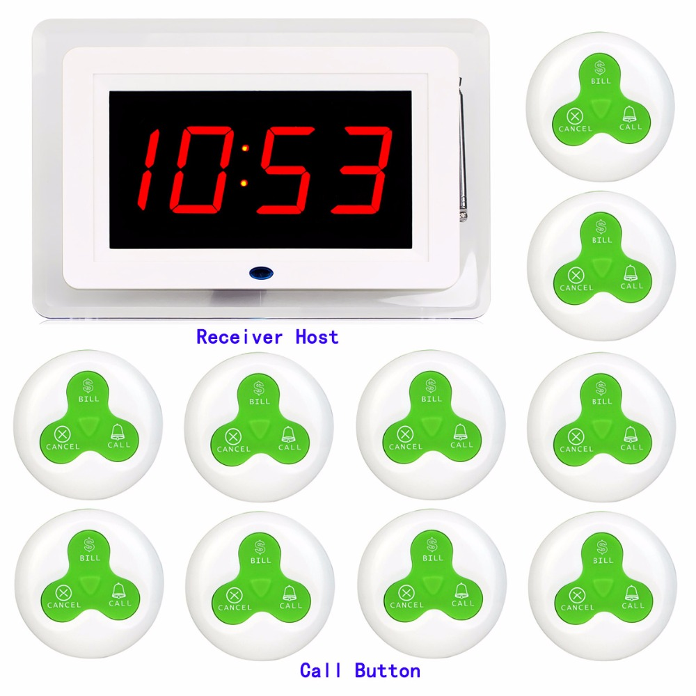 Wireless Waiter Calling System 433MHz Guest Paging System Restaurant Pagers Call Bell Cafe Hospital With Voice Broadcast F3255G wireless table bell calling system call service guest paging buzzer restaurant coffee office 1 display 1 watch 10 call button