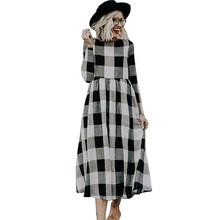 2019 Elegant Dress Plaid Print Summer Dresses Women White And Black Plaid Long Sleeve Mid-calf Length Loose Dress Large Size(China)