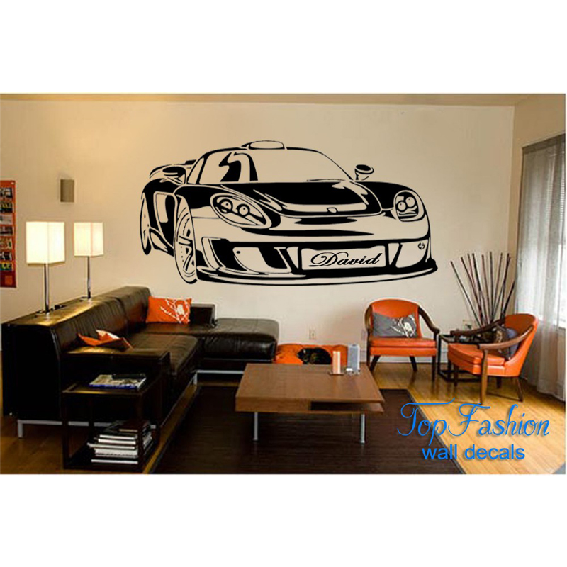 Large Personalized Super Car Vinyl Wall Stickers Boys Name Custom Any Name Mural Bedroom
