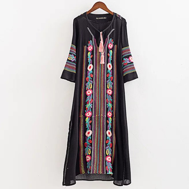 9f1f8ae7ff Women Ethnic embroidery Dress Long sleeve vintage ropa mujer Round Neck Long  maxi jurk Plus Size