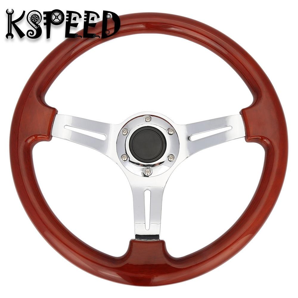 350mm Auto Parts Racing Steering wheel 14 inch ABS Wood Look Car ...