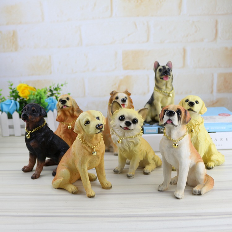 Action Figures Toys dog puppet Mini Toy Simulation dog resin crafts dog doll ornaments home decor animal kids toy for child gift push along walking toy wooden animal patterns funny kids children baby walker toys duckling dog cat development eduacational toy