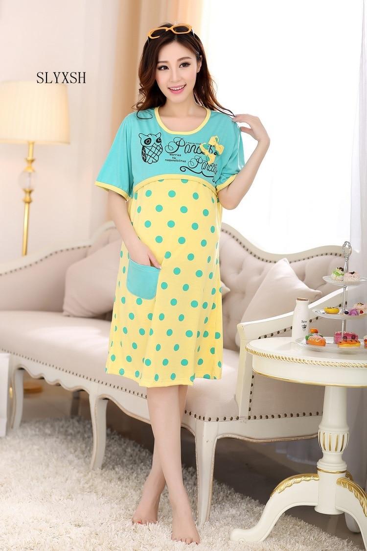 Summer Outing Pregnancy Breastfeeding Nightdress Pajama Fashion Maternity Wear Cotton Prenatal Postpartum Nursing Monthwear