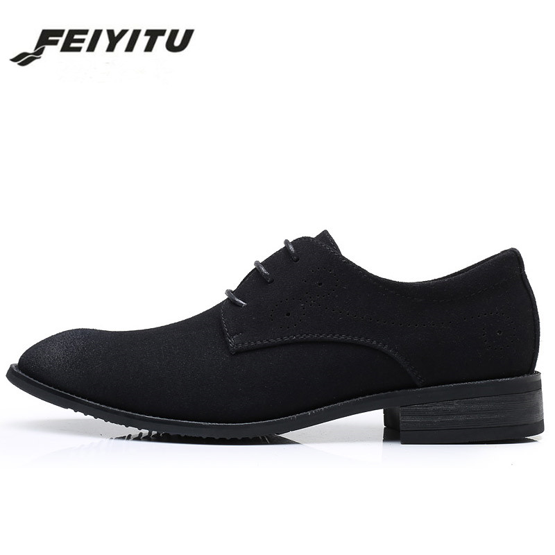 feiyitu 2018 Men Dress Shoes Nubuck Leather Fashion Formal Wedding Banquet Men Oxford shoes black blue red gray eu size 39 46 in Men 39 s Casual Shoes from Shoes