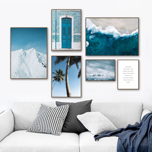 Gohipang Sea Fog Tree Blue Door Snow Wall Art Canvas Painting Nordic Poster And Prints Landscape Pictures For Living Room