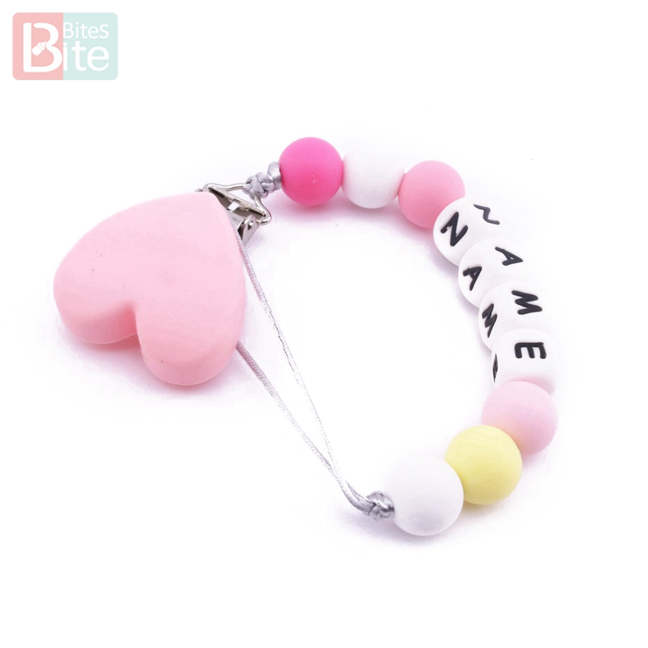 Bite Bites Candy Pink Heart Shaped Customize Name Letter Pacifier Chain Silicone Bead Baby Nursing Accessories Love Baby Teether love bite