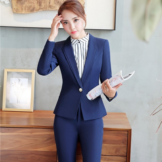 b8e2d910bf6 Plus Size Formal Uniform Design Pantsuits With Jackets And Pants For Ladies  Work Wear Pants Suits Trousers Set Slim Fashion