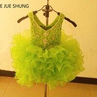 E JUE SHUNG Citroen Groene Organza Mini cupcake bloem meisje jurken Kralen pageant Meisje Jurken baby peuter jurken