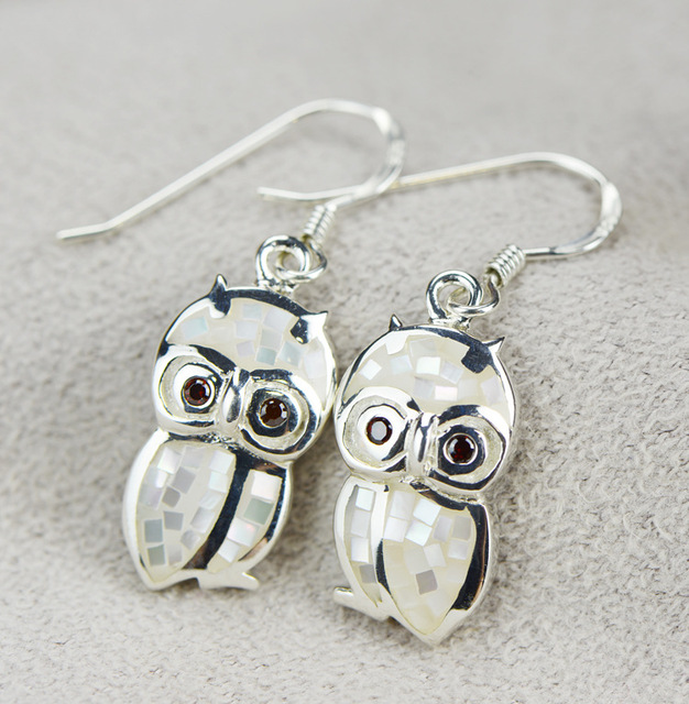 925 Silver Jewelry Whole Cartoon Cute Owl Earrings Sterling S Exquisite Craft Female Models