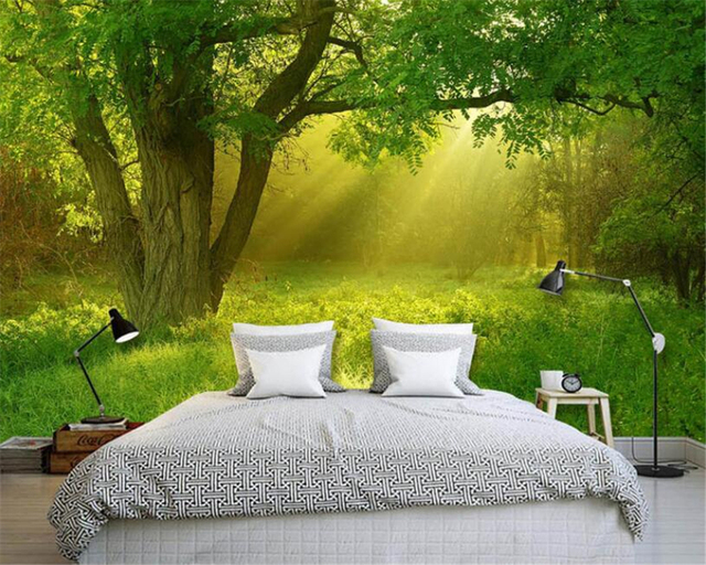 Beibehang 3D Wallpaper Beautiful Tree Sunny Landscape 3D TV Sofa Background  Wall Living Room Bedroom Wallpaper