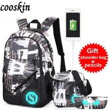 Luminous Umhängetasche Männlichen Mittelschülerin Tasche Mode Usb-gebühren Rucksack Freizeit Reisetasche