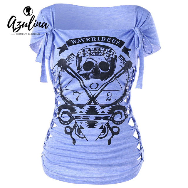 9c8980843eb3 AZULINA Plus Size S-2XL Skull Print Braided Shredding T-shirt Women Casual  Square Neck Short Sleeve Graphic Top Lady Pullover