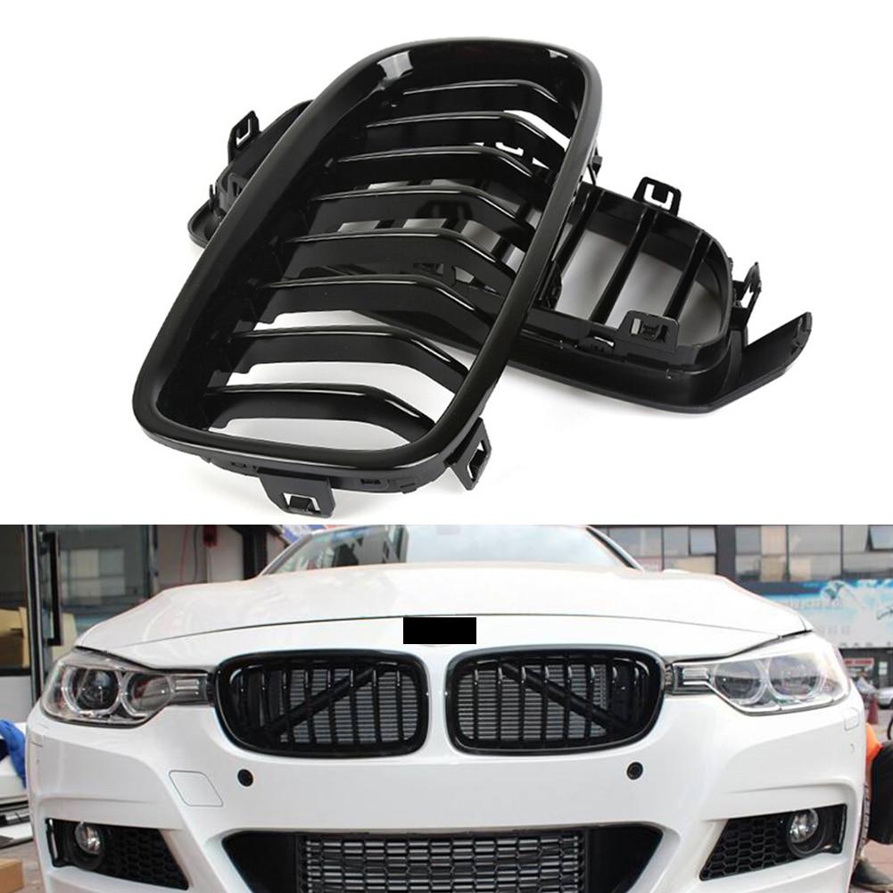 Avant Noir brillant Grils Pour BMW Série 3 F30 Berline & F31 Wagon 316i 328i 335i 2012 2013 2014 2015 2016 2017 2018 ABS