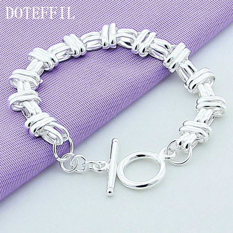 Round Cross Charm Chain Bracelet 925 Silver Color Bracelets Bangles in Charm Bracelets For Lady Women Valentine Gift