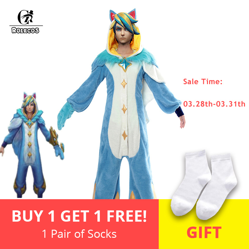 ROLECOS Game LOL Ezreal Cosplay Costume Pajama Star Guardian Ezreal Pajama Cosplay Costume for Men Jumpsuits Full Set