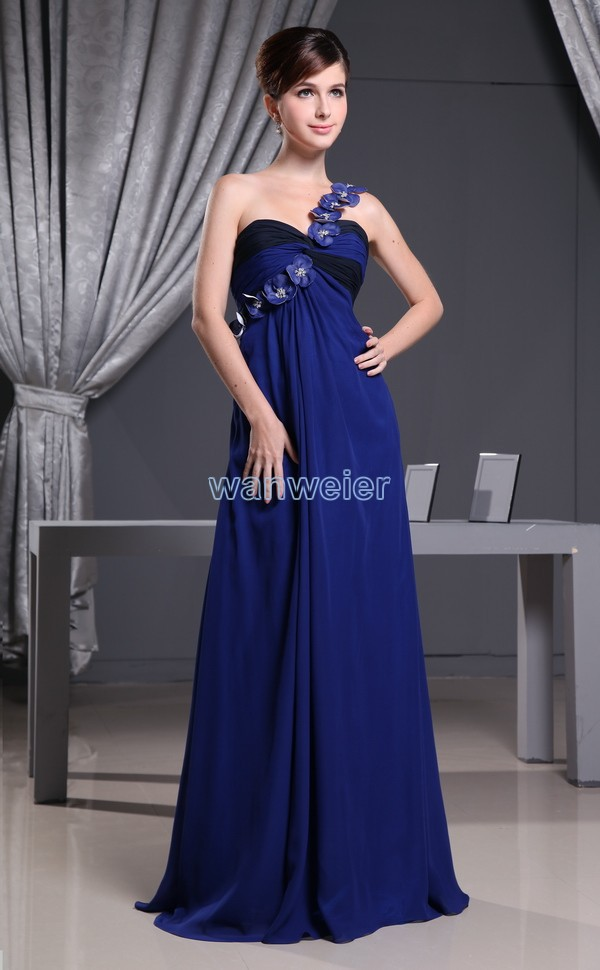 free shipping hot sale best handmade flower one shoulder formal custom size gown chiffon cheap evening mother of bride dresses