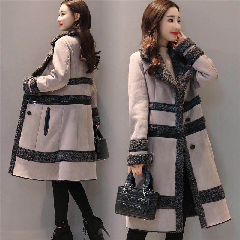 Модная замшевая куртка, Женское пальто, съемная Вельветовая длинная куртка, элегантная тонкая утепленная куртка размера плюс, зимняя куртка с длинным рукавом Q633