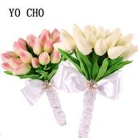 YO CHO Real Touch White PU Tulip Brides Bouquets artificial Bridesmaid wedding bouquet fleurs artificielles pour le mariage