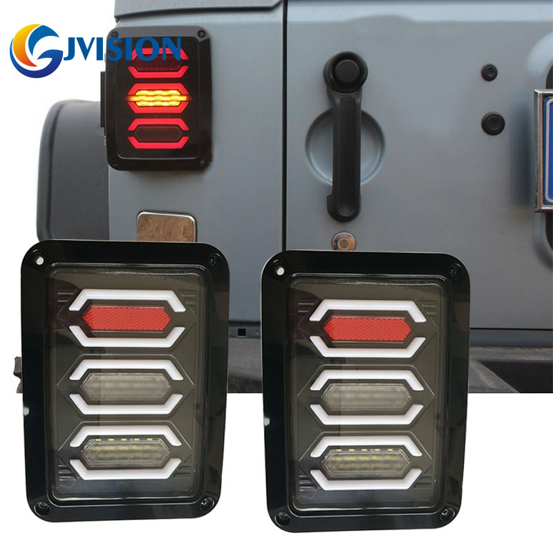 2PCS LED Tail lights + Brake Lights + Reversing Lights + Turn Singnal Car Rear Taillights Tail Lamps for Jeep Wrangler
