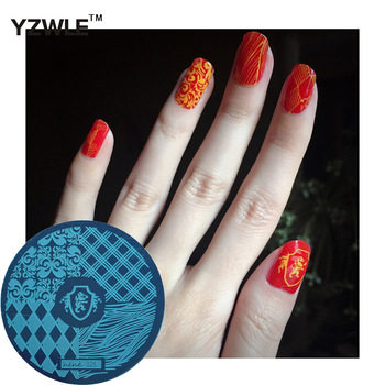 YZWLE 1 Pcs Stamping Nail Art Image Plate 5.6cm Stainless Steel Nail Stamping Plates Template For Nails Stencil Tools (hehe-026)